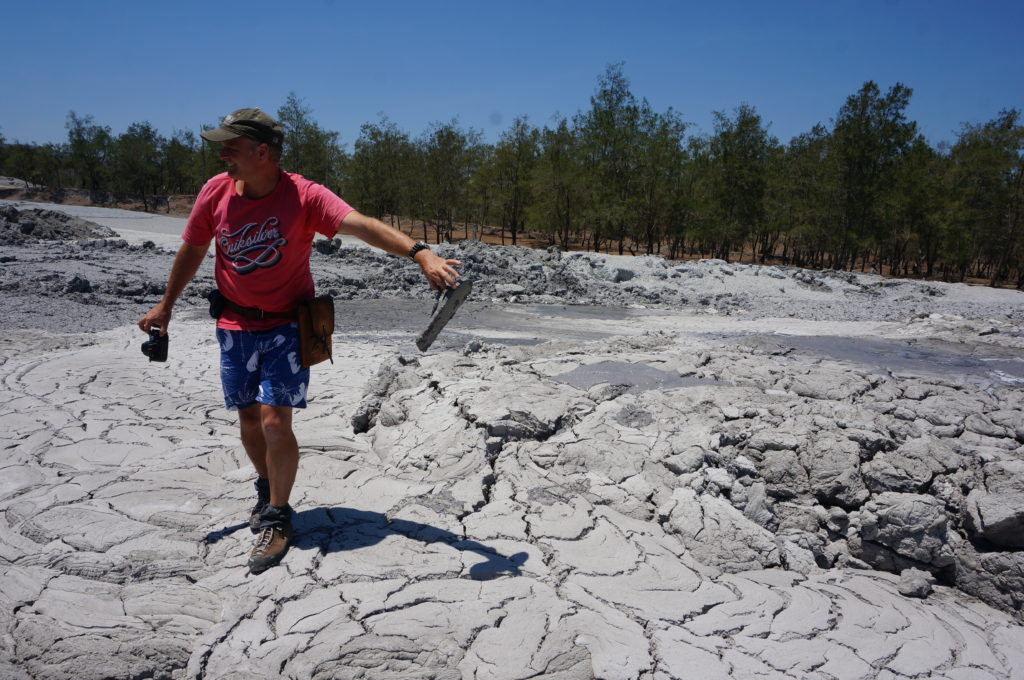 Steve braves the mud volcano to retrieve the nearly-lost thong