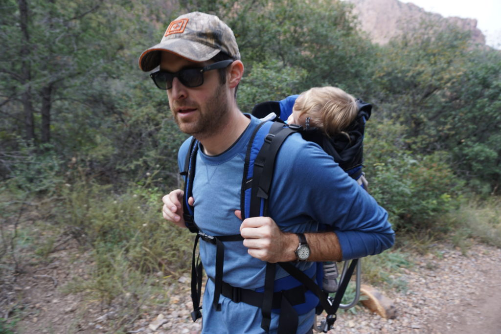 Geology dad: Trading in a backpack full of rocks for a backpack full of a sleeping toddler.
